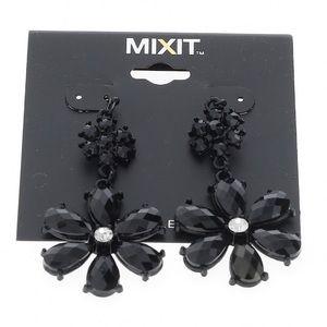 🆕Mixit Black Rhinestone Floral Dangle Earrings